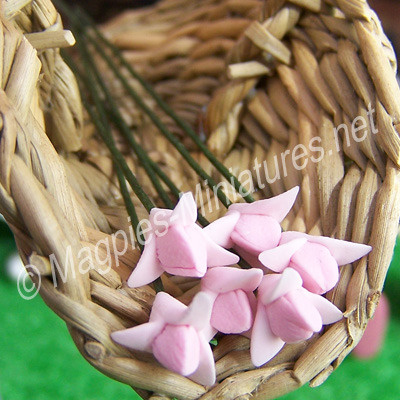 Set Of 6 Small Flowers Pink