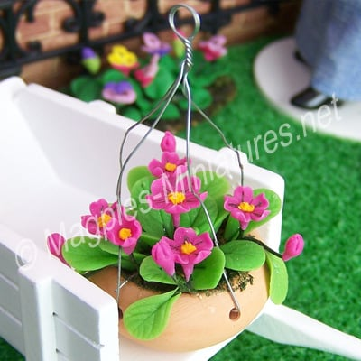 Hanging Basket - Pink Flowers