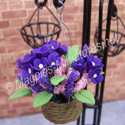 Hanging planter of purple flowers
