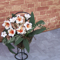 White Lily Flower Arrangement On Stand