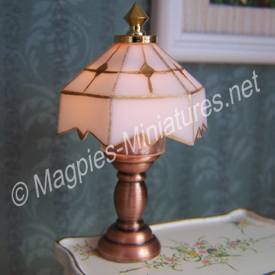 White Tiffany Style Table Lamp