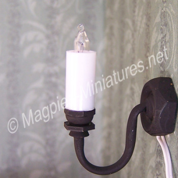 Black Single Candle Wall Light