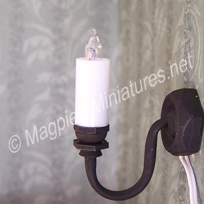 Black Single Candle Wall Light
