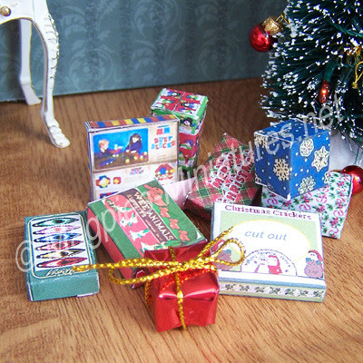 Set of Christmas presents and wrap