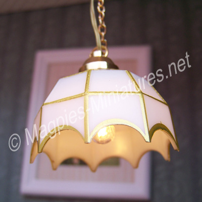 White Tiffany Style Ceiling Lamp