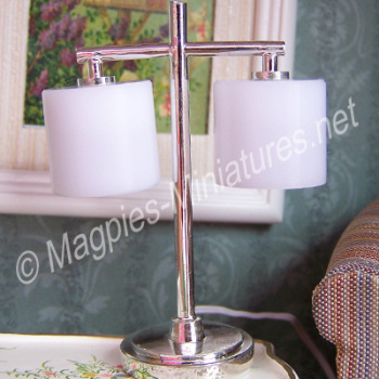 Modern Table Lamp with 2 Palace Shade - Silver