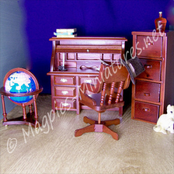 4 Piece Office / Study Desk Set - Mahogany