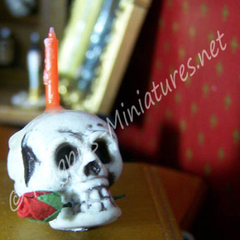 Plastic Skull and Rose and Candle