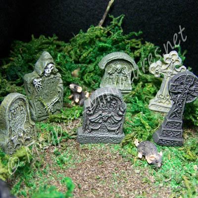 Detailed Tombstones - Set Of 6