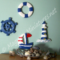 4 Beach Theme / Seaside Wall Decorations
