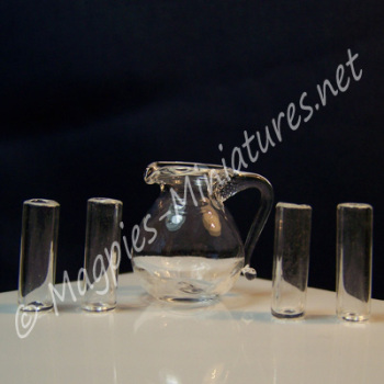 Glass Pitcher and 4 Glasses