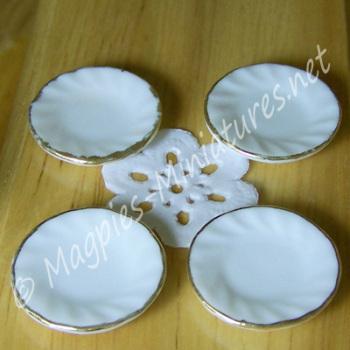 Pack of 4 Gold Rimmed Ceramic Side Plates