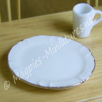 Ceramic White Oval platter with Gold Trim