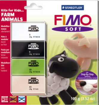 FIMO Soft Polymer Clay For Kids - Farm Animals Modelling Jewellery Craft Art Fun