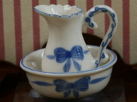Blue Ribbon Jug and Bowl