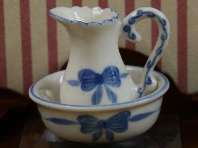 Blue Ribbon Jug and Bowl
