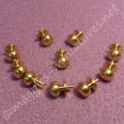 Brass Knobs, 6mm, Pack of 10