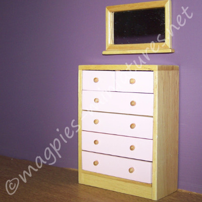 Drawer Unit with Mirror, Pink