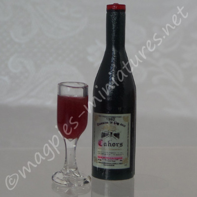 Quality Wine Bottle, and Filled Wine Glass - Red
