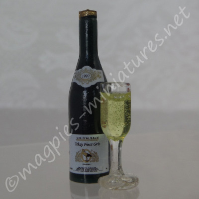 Quality Wine Bottle, and Filled Wine Glass - White