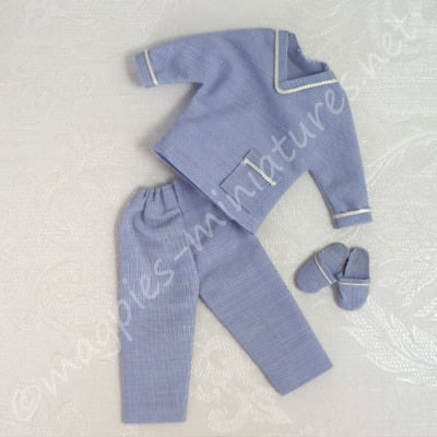 Blue Men's Pyjamas With Slippers