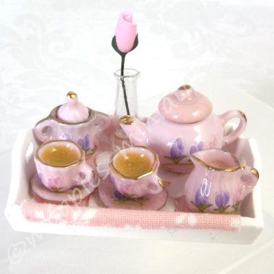 Tea Tray - Pink Rose