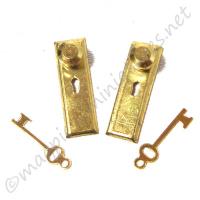 Brass Knob, Key Plate 2pc/pkg