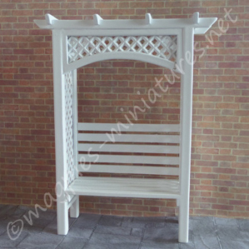 White Painted Garden Arbour Bench