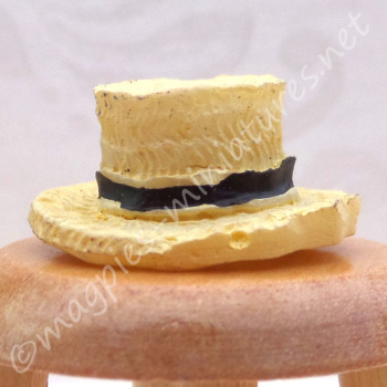 Straw Hat with Black Band - 1:24 24th Scale