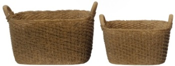 Oblong Resin Baskets - set of 2