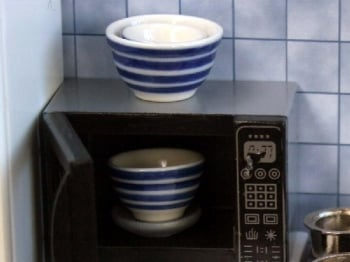 Set Of 3 Striped Pudding Basins - Ceramic