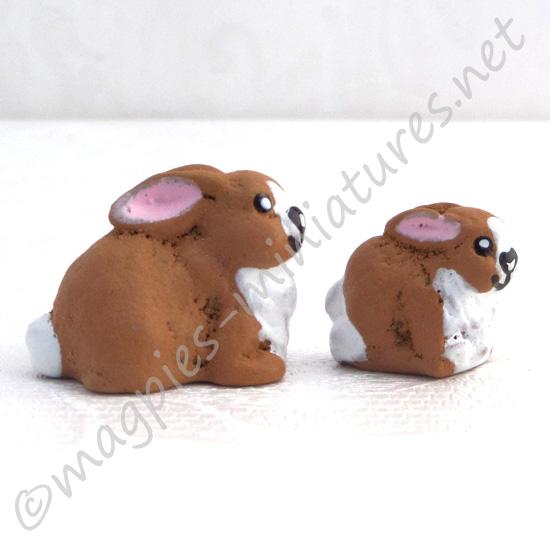 2 Baby Rabbits - Resin