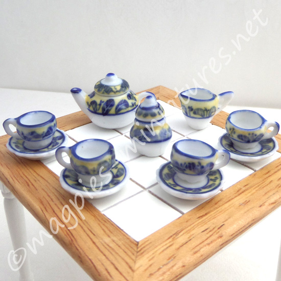 """Tea Set - """"Blue and Yellow"""". FILLED or EMPTY"""
