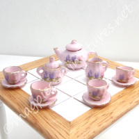 Tea Set - Pink ceramic with Flowers - FILLED or EMPTY