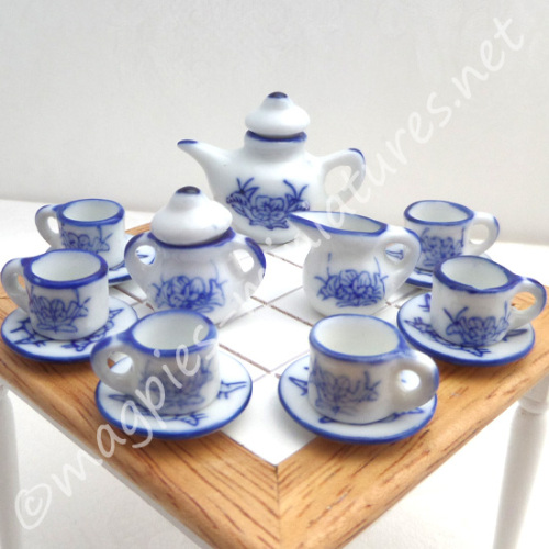 Large Tea Set - Blue and White - FILLED or EMPTY