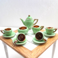 Coffee Set - 1930s style green and gold ornamental
