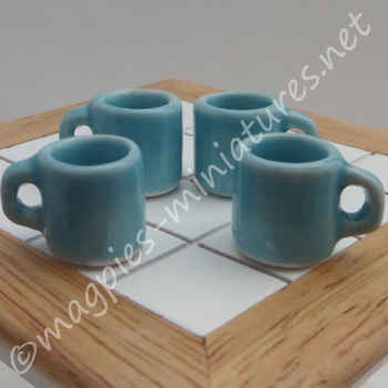 Mugs - Set of 4 Blue - Empty