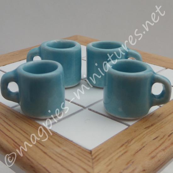 Mugs - Set of 4 Blue - Empty