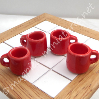 Mugs - Set of 4 Red - Filled or Empty