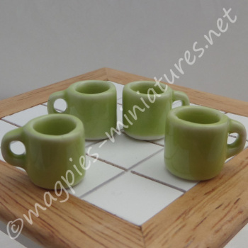 Mugs - Set of 4 Green - Filled or Empty