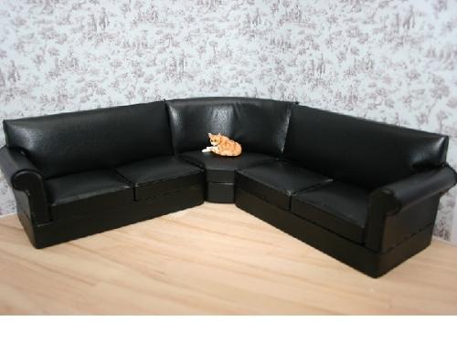 3Pc Black Corner Couch Suite