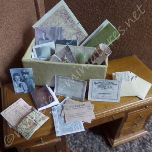 Box of letters, photographs, wills and bills