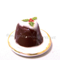 Christmas Pudding on Ceramic Plate