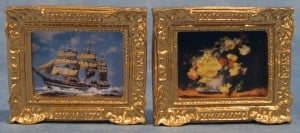 Picture - Ship & Floral Set of 2