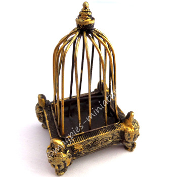 Golden Birdcage with Decorative Base-Dolls House Emporium