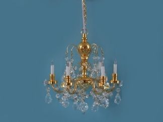 6 Arm Real Crystal Chandelier