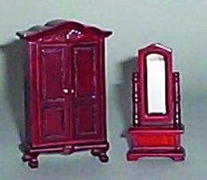 Wardrobe and Swivel Mirror, Mahogany