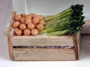 Asparagus and Mushrooms in wooden crates