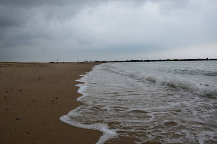 Clacton on sea beach and white waves1