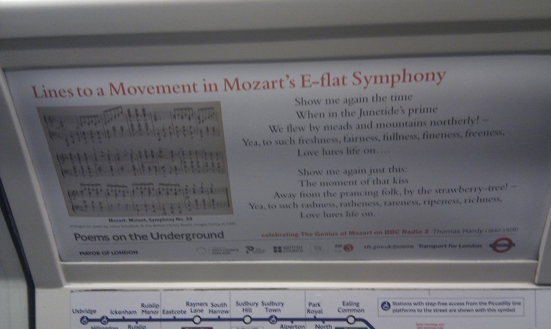 lines to a movement in mozarts eflat symphony